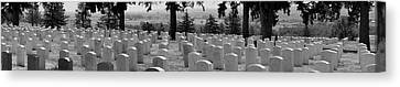 Gravestone At The Military Cemetery Canvas Print by Panoramic Images