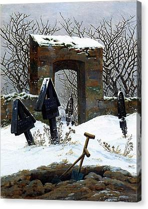 Graveyard Under Snow Canvas Print by Philip Ralley
