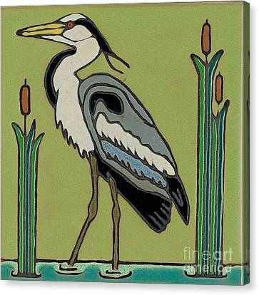 Great Blue Heron Canvas Print by Elany  Prusa