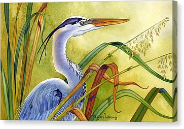 Great Blue Heron Canvas Print by Lyse Anthony