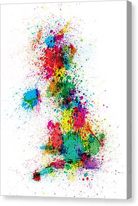 Great Britain Uk Map Paint Splashes Canvas Print by Michael Tompsett