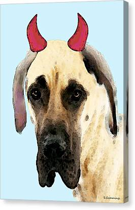 Great Dane Art - Ok Maybe I Did Canvas Print by Sharon Cummings