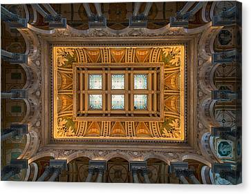 Great Hall Ceiling Library Of Congress Canvas Print by Steve Gadomski