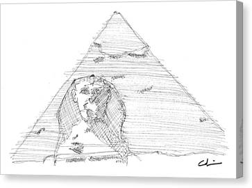 Great Pyramid Sphinx Sketch Canvas Print by Calvin Durham