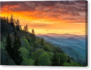 Great Smoky Mountains North Carolina Scenic Landscape Cherokee Rising Canvas Print by Dave Allen