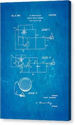 Greatbatch Cardiac Pacemaker Patent Art 1962 Blueprint Canvas Print by Ian Monk