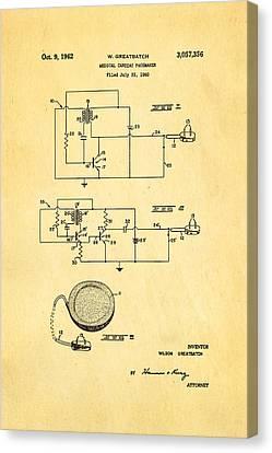 Greatbatch Cardiac Pacemaker Patent Art 1962 Canvas Print by Ian Monk