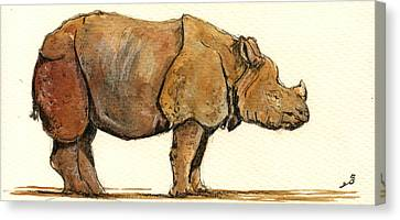 Greated One Horned Rhinoceros Canvas Print by Juan  Bosco
