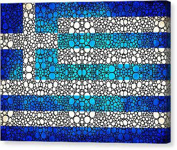 Greek Flag - Greece Stone Rock'd Art By Sharon Cummings Canvas Print by Sharon Cummings