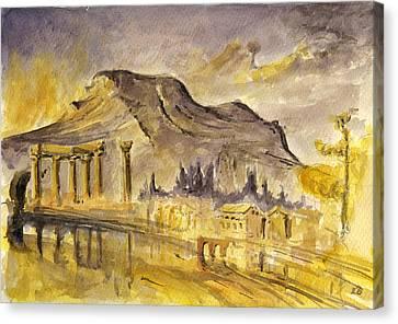 Greek Ruins Canvas Print by Juan  Bosco