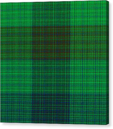 Green And Blue Plaid Fabric Background Canvas Print by Keith Webber Jr