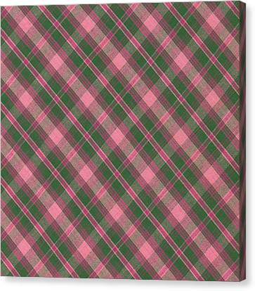 Green And Pink Diagonal Plaid Pattern Textile Background Canvas Print by Keith Webber Jr