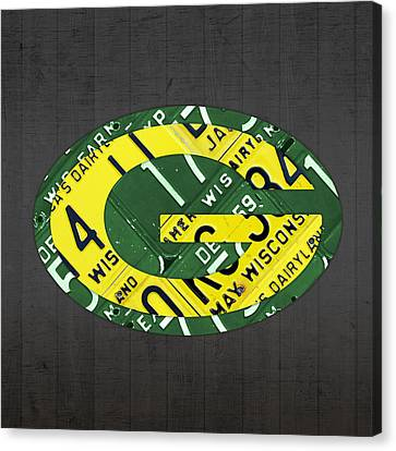 Green Bay Packers Football Team Retro Logo Wisconsin License Plate Art Canvas Print by Design Turnpike