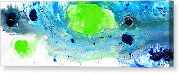 Green Blue Art - Making Waves - By Sharon Cummings Canvas Print by Sharon Cummings