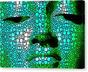 Green Buddha - Stone Rock'd Art By Sharon Cummings Canvas Print by Sharon Cummings