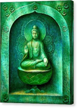 Green Buddha Canvas Print by Sue Halstenberg