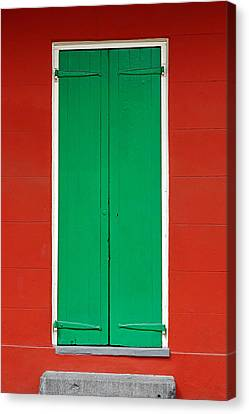 Green Door In New Orleans Canvas Print by Christine Till