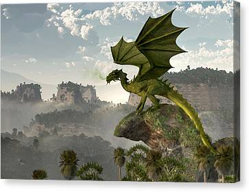 Green Dragon Canvas Print by Daniel Eskridge