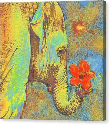 Green Elephant Canvas Print by Jane Schnetlage