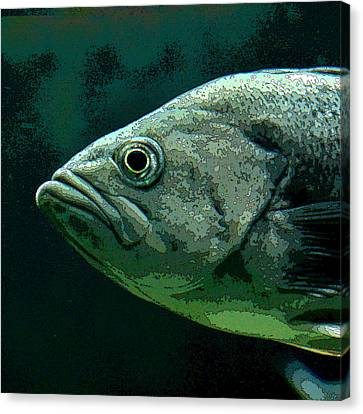 Green Fish Canvas Print by Art Block Collections