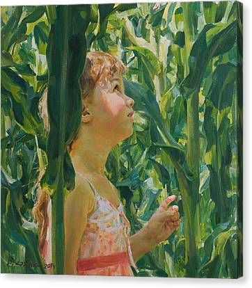 Green Forest Of Corn Canvas Print by Victoria Kharchenko