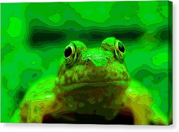 Green Frog Poster Canvas Print by Dan Sproul