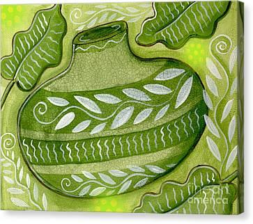 Green Gourd Canvas Print by Elaine Jackson