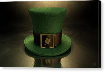 Green Leprechaun Shamrock Hat Canvas Print by Allan Swart