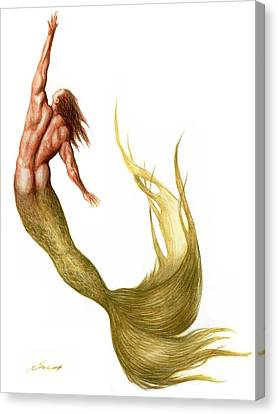 Green Merman Canvas Print by Bruce Lennon