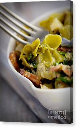 Green Pasta With Vegetables Canvas Print by Mythja  Photography