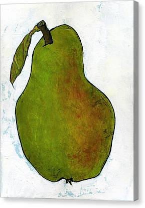 Green Pear On White Canvas Print by Blenda Studio