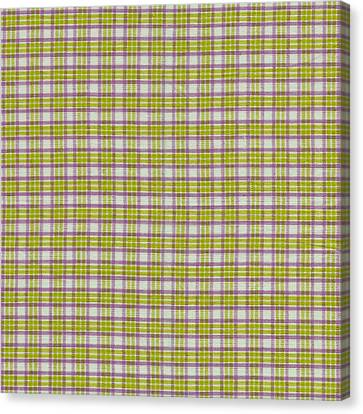 Green Pink And White Plaid Design Fabric Background Canvas Print by Keith Webber Jr