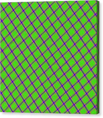 Green Pink Blue Plaid Fabric Background Canvas Print by Keith Webber Jr