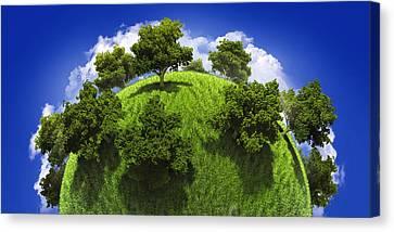 Green Planet Earth Canvas Print by Vitaliy Gladkiy