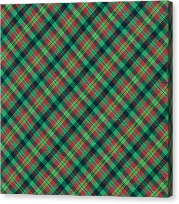 Green Red And Black Diagonal Plaid Textile Background Canvas Print by Keith Webber Jr