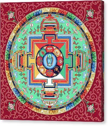 Green Tara Mandala Thangka Canvas Print by Ies Walker