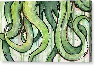 Green Tentacles Canvas Print by Olga Shvartsur