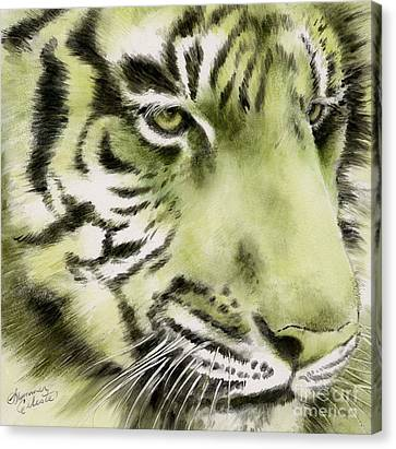 Green Tiger Canvas Print by Summer Celeste