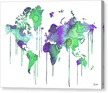 Green Watercolor Map Canvas Print by Luke and Slavi