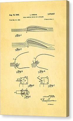 Greene Flight Stall Warning Device Patent Art 1949 Canvas Print by Ian Monk