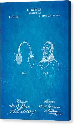 Greenwood Ear Mufflers Patent Art 1877 Blueprint Canvas Print by Ian Monk