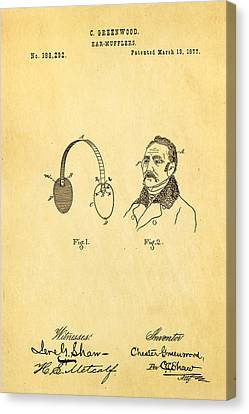 Greenwood Ear Mufflers Patent Art 1877 Canvas Print by Ian Monk