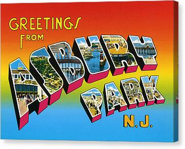 Greetings From Asbury Park Nj Canvas Print by Digital Reproductions