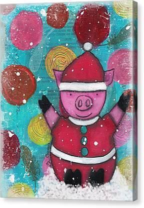 Greetings From The North Pig Canvas Print by Barbara Orenya