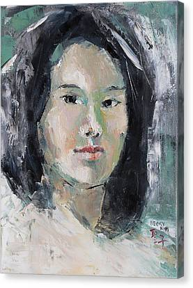Grey Hair -self Portait Under Natural Window Light Canvas Print by Becky Kim