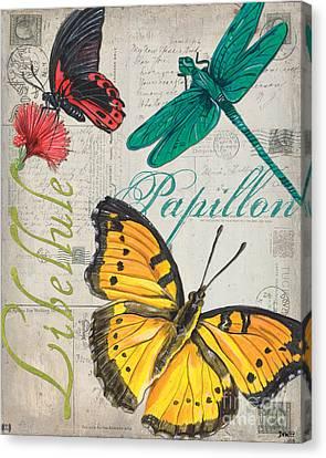 Grey Postcard Butterflies 3 Canvas Print by Debbie DeWitt