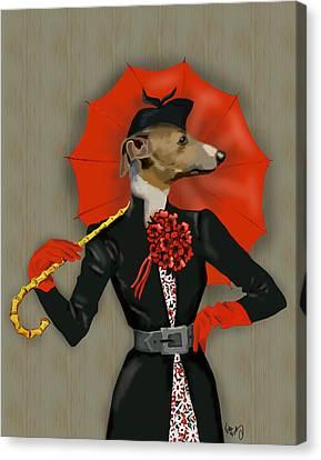 Greyhound Elegant Red Umbrella Canvas Print by Kelly McLaughlan