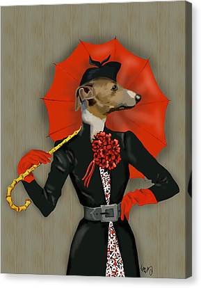 Greyhound Elegant Red Umbrella Canvas Print by Kelly McLaughlan