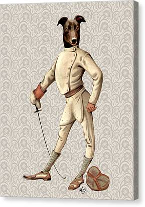 Greyhound Fencer Full White Canvas Print by Kelly McLaughlan