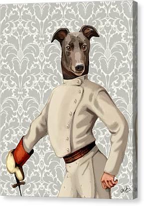 Greyhound Fencer White Portrait Canvas Print by Kelly McLaughlan